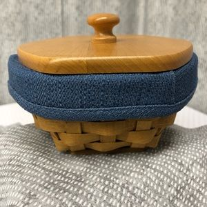 Longaberger 'Sage' basket with protector and lid